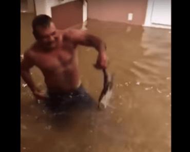 vissen blote handen houston texas orkaan harvey