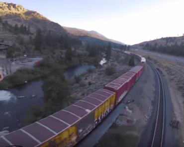 drone trein achtervolging