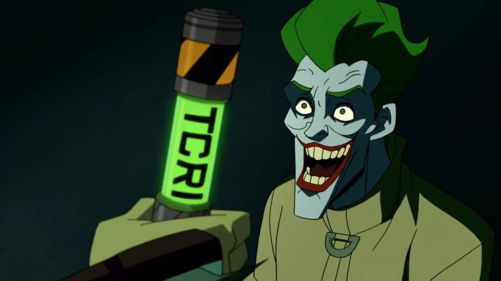 The Joker grinning at a Vial of TCRI Mutagen Ooze