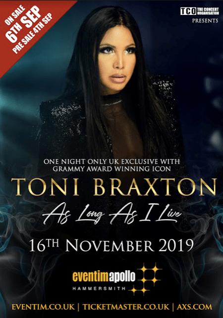 Grammy Award Winning Icon Toni Braxton Announces London Show At The Eventim Apollo