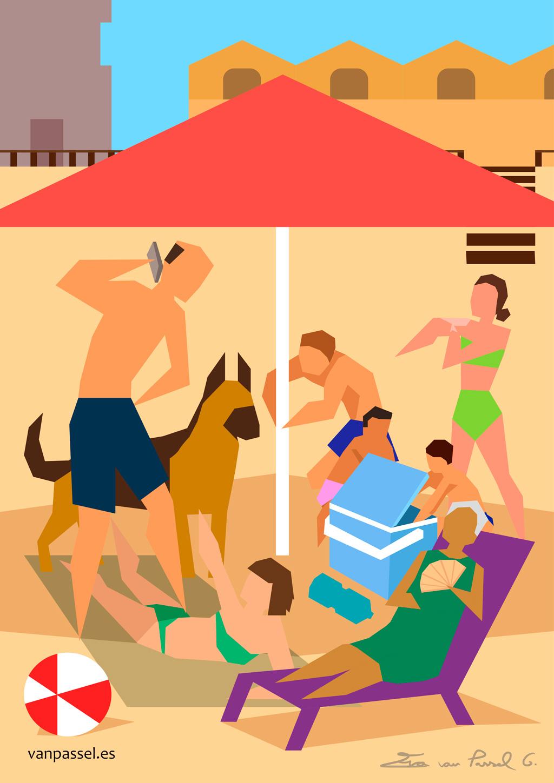 Roce que hace cariño   La familia en la playa