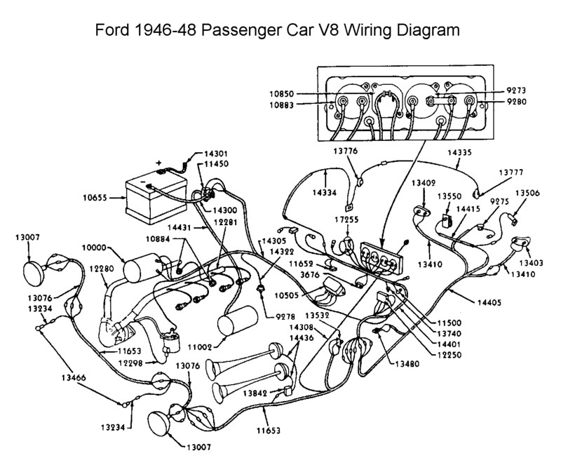 1946 Ford Sedan Dashboard Diagram
