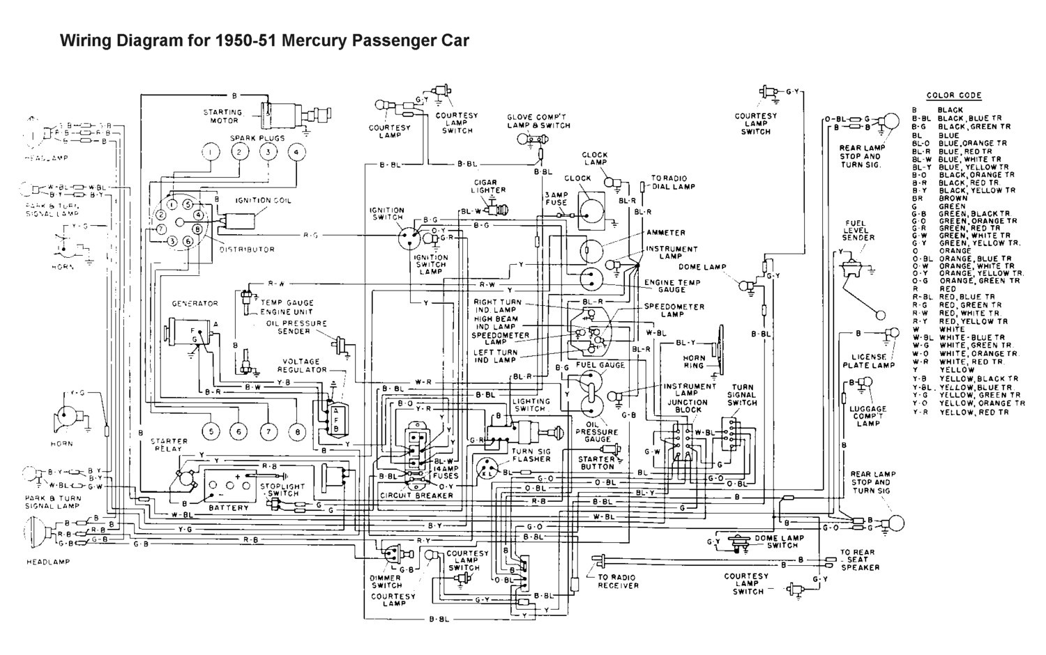 hight resolution of wiring for 1950 51 mercury car