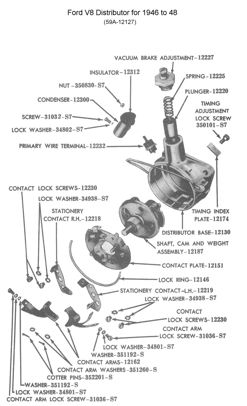 hight resolution of ford distributor for 1945 to 48 v8 photo guts