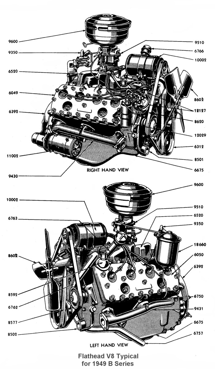 hight resolution of  complete engine for 1949 left right view
