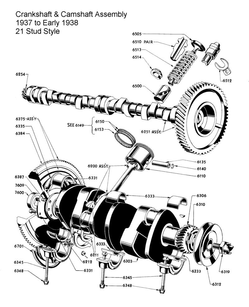 hight resolution of  crankshaft camshaft assy for 1937 to