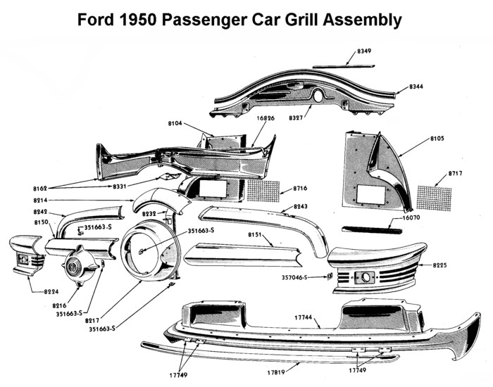 1950 ford truck grill