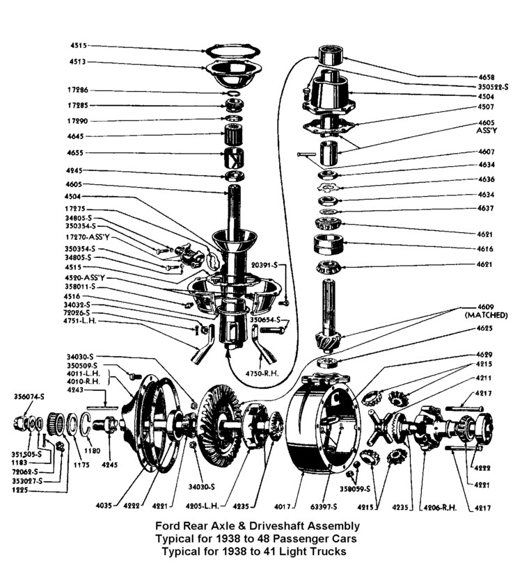 Flathead Parts Drawings- Rearends
