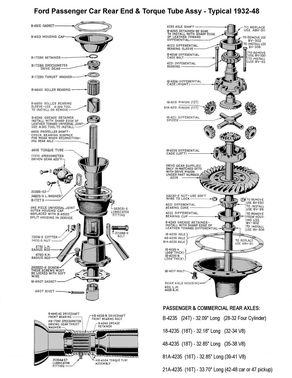 Flathead Parts Drawings- Rearends