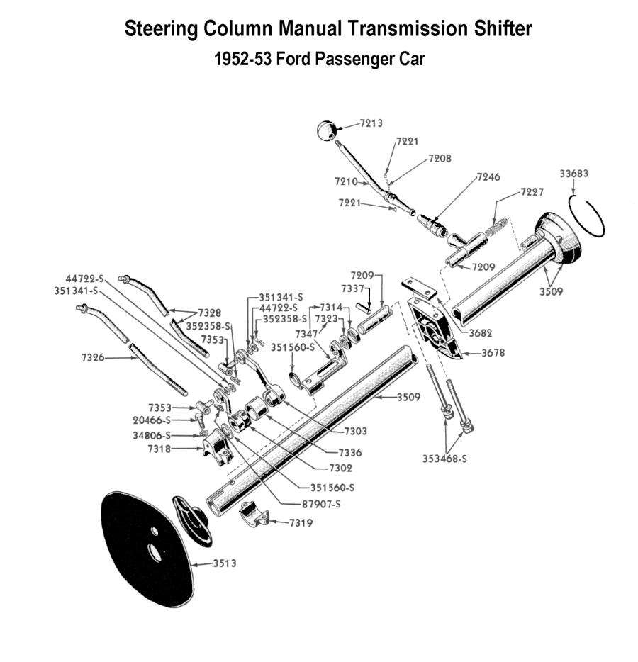 hight resolution of gearshift assembly for 1952 to 53 ford cars