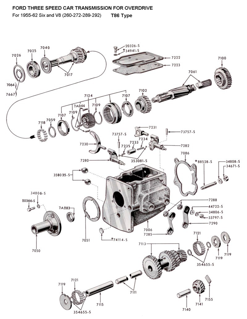 medium resolution of flathead parts drawings transmissions 1955 mercury 1951 mercury clutch diagram