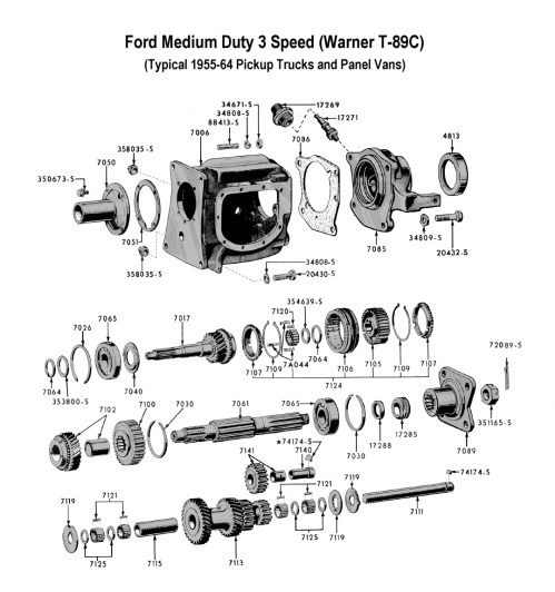 small resolution of three speed trans medium duty t 89 for 1955 to 64