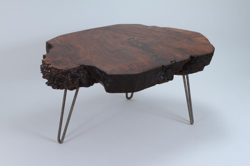 live edge slab steel legs coffee table solid wood living room custom table