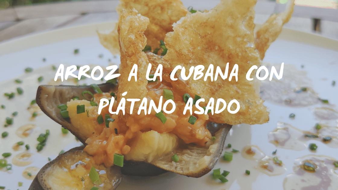 El mejor arroz a la cubana con plátano asado!