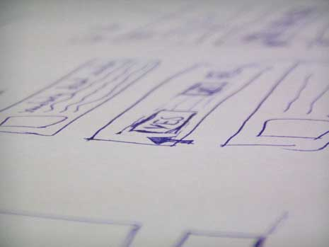 Closeup of a wireframe sketch