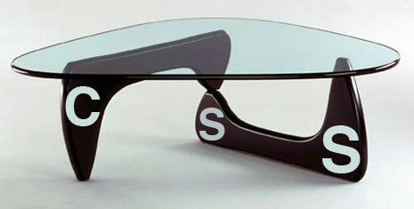 Glass top coffee table with the letters css on the table legs