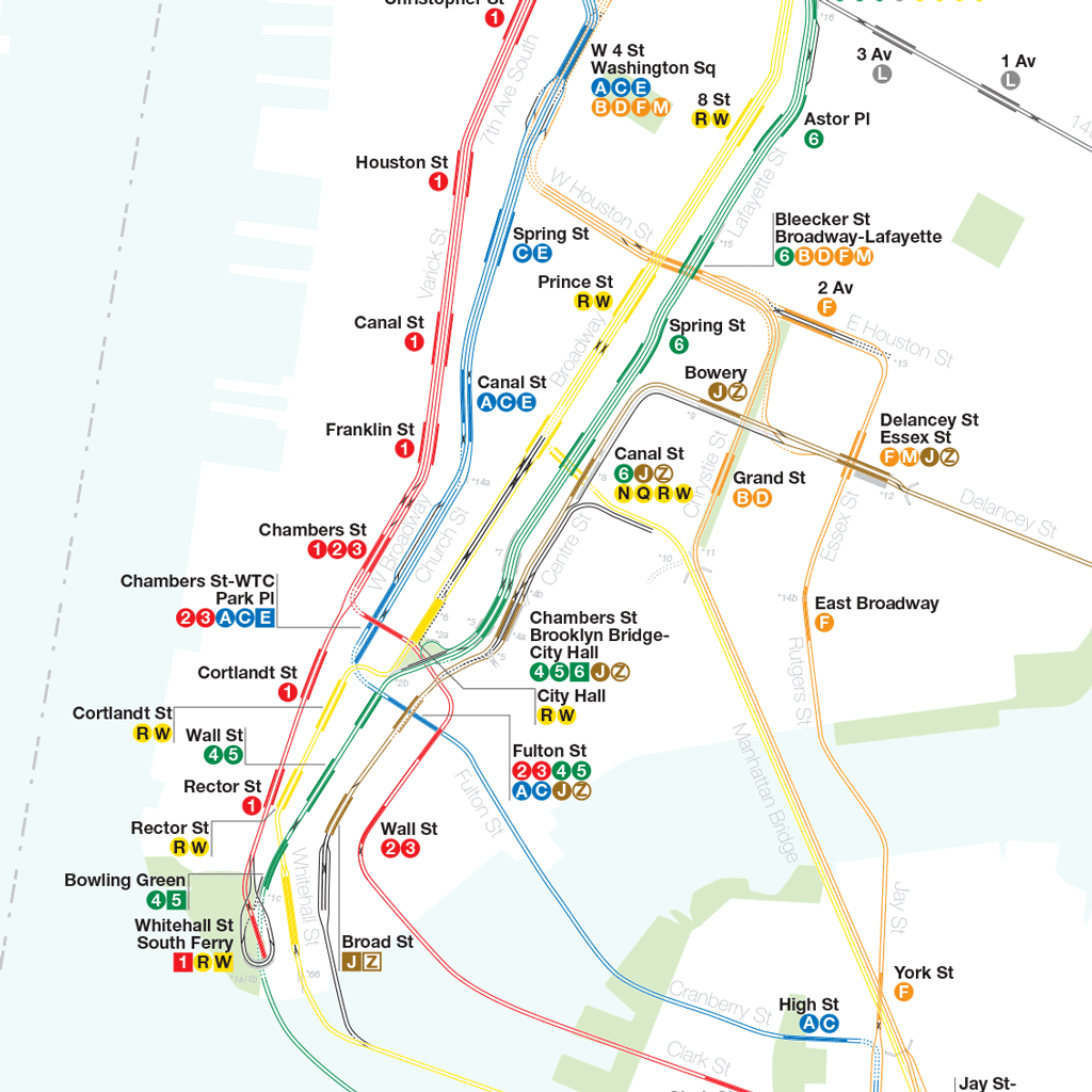 new york city subway diagram audi a4 1 8t engine a complete and geographically accurate nyc track map close up of lower manhattan