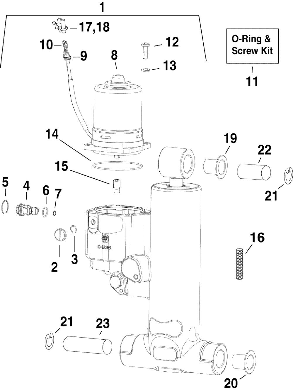 medium resolution of brp evinrude en 2010 90 e90dslise trim tilt hydraulic assembly