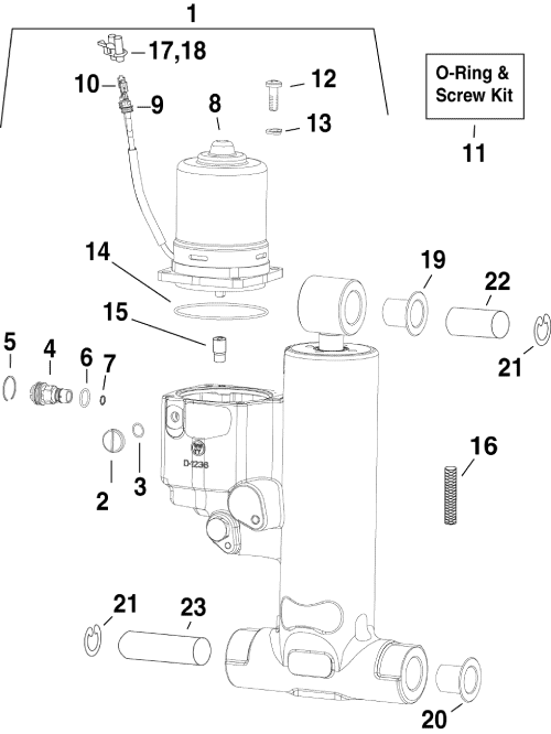 small resolution of brp evinrude en 2010 90 e90dslise trim tilt hydraulic assembly