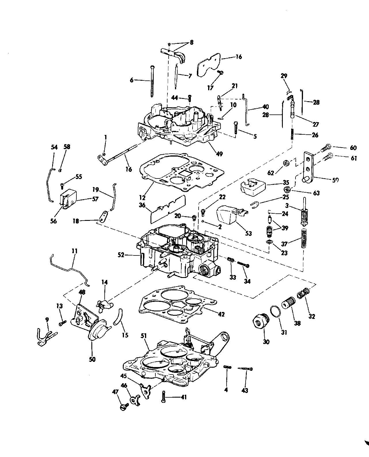 Stern Drive 240 J Carburetor Group 225 Hp Models