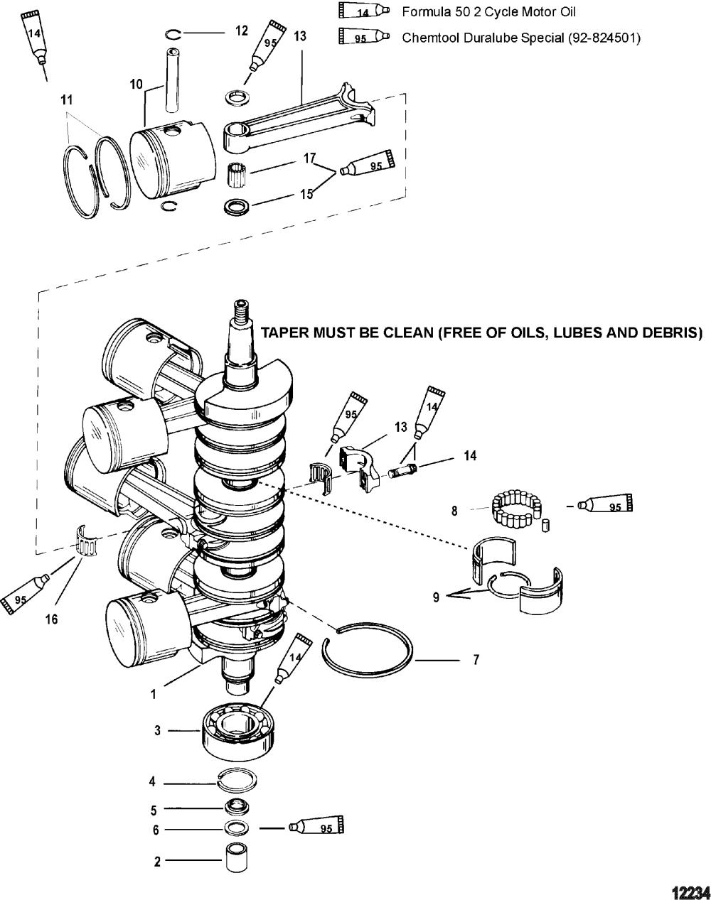medium resolution of mercury race outboard 225x efi promax 0t430254 thru 0t819605 crankshaft pistons and connecting rods
