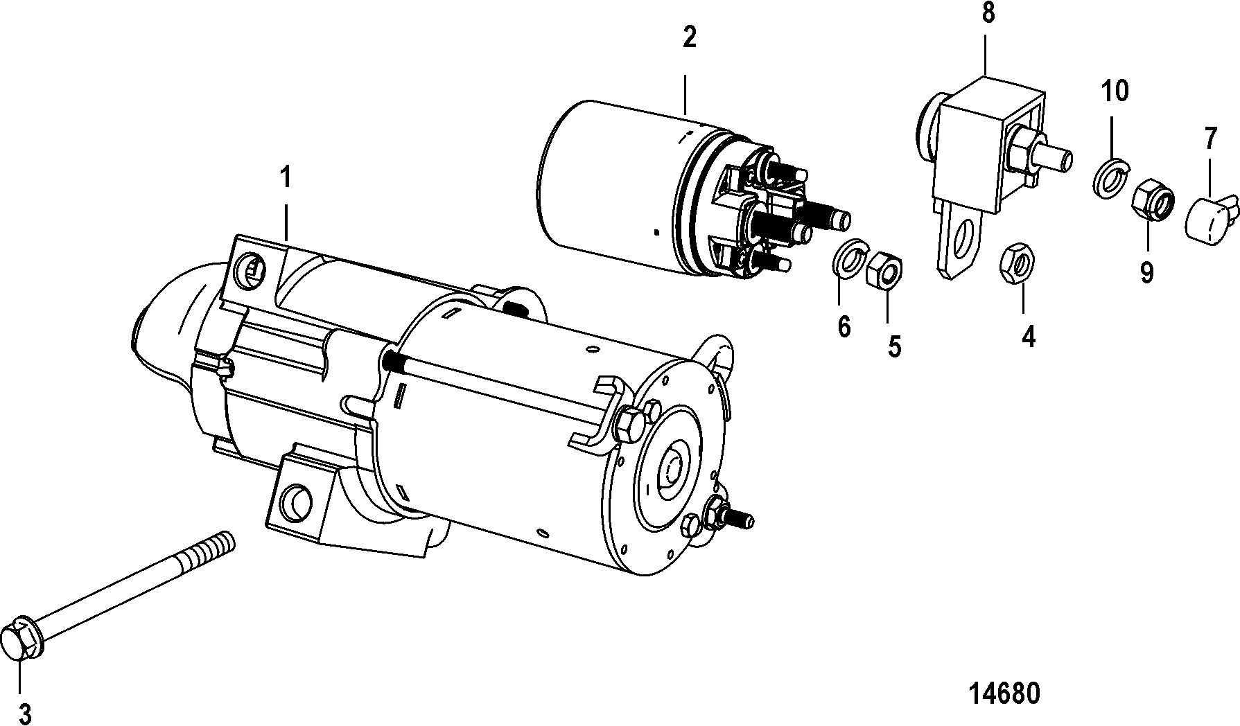 hight resolution of mercury mercruiser 350 mag mpi ski 0m317000 thru 0w689999 starter motor