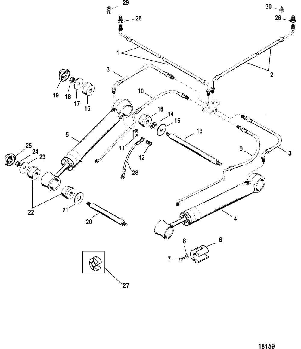 medium resolution of mercury mercruiser bravo xr one 0l914990 thru 0w239999 trim rh vansoutboardparts com mercury outboard diagram tilt and trim johnson tilt trim diagram