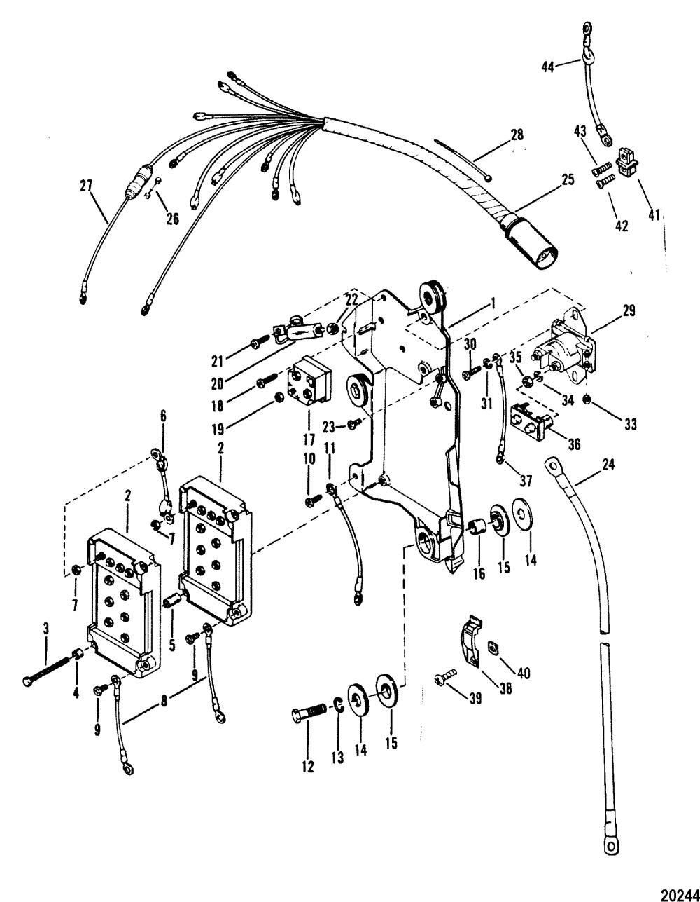 medium resolution of mercury mariner v 150 marathon 5600162 thru 0a904645 wiring harness starter solenoid and rectifier
