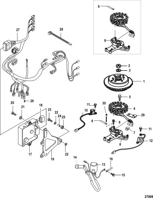 small resolution of mercury mariner 30 efi 3 cyl 4 stroke 0r106999 up flywheel ecu and wiring harness
