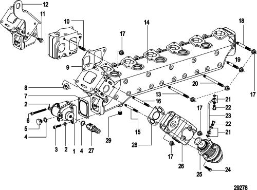 small resolution of mercury mercruiser cmd qsd 2 8 es 170 88300400 thru 88300453 exhaust manifold