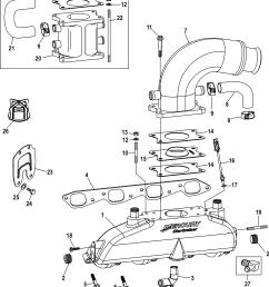 mercury mercruiser 8 1l inboard h o 0w691821 thru 1a380318 exhaust manifold elbow and riser [ 1905 x 2178 Pixel ]
