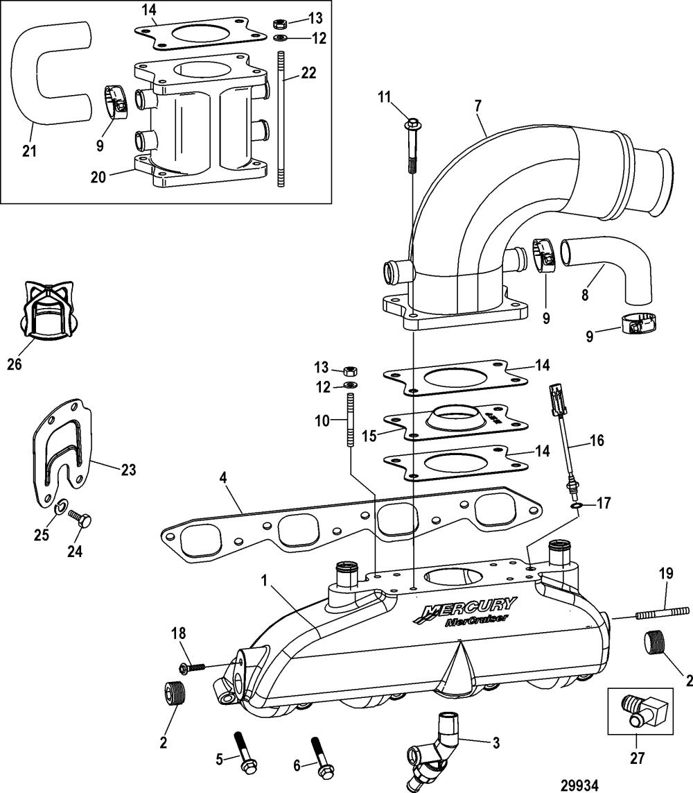 medium resolution of mercury mercruiser 8 1l inboard h o 0w691821 thru 1a380318 exhaust manifold elbow and riser
