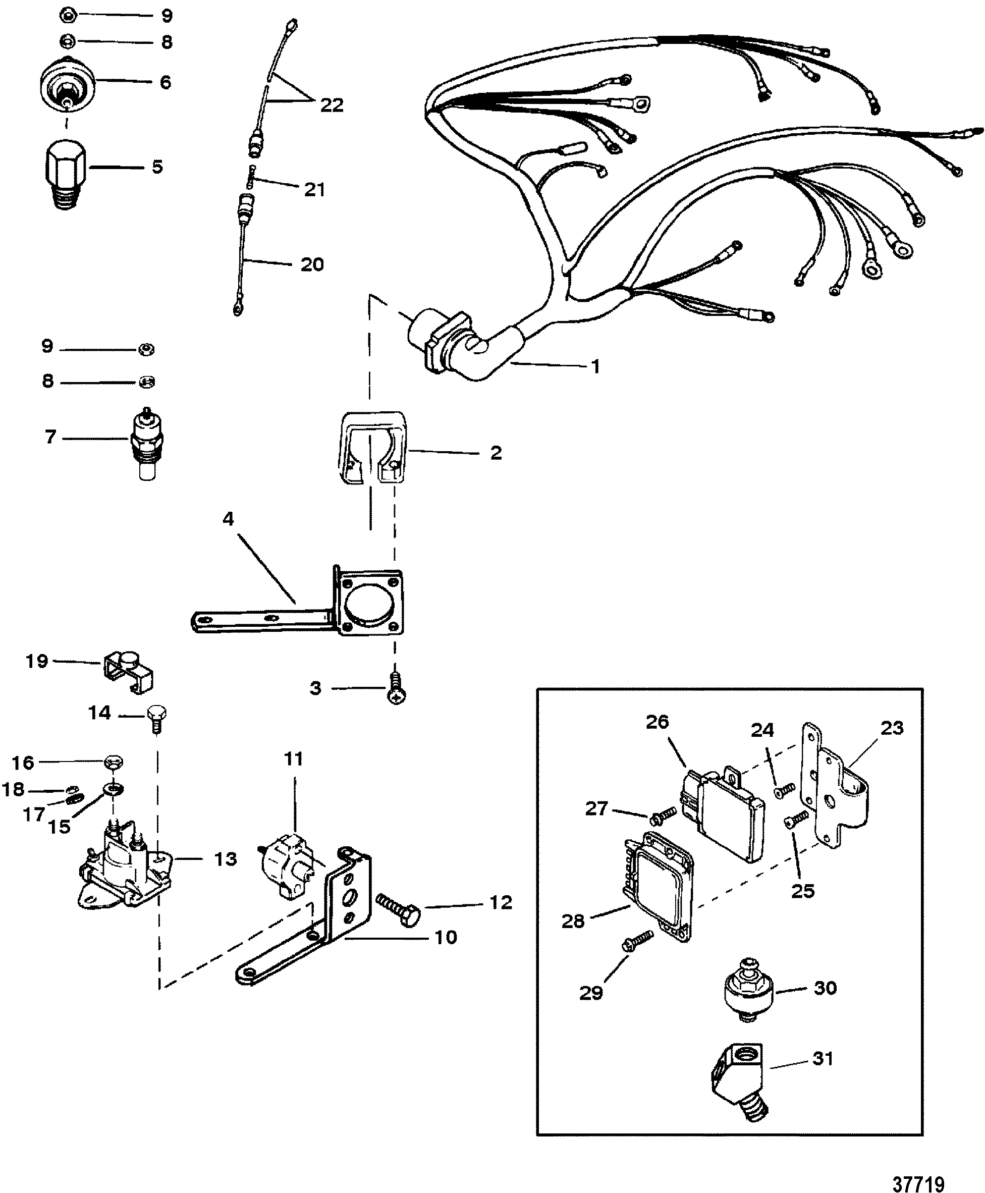 mercruiser 5 7 wiring diagram two way switch connection mercury 7l 2 bbl gm 350 v 8 1996