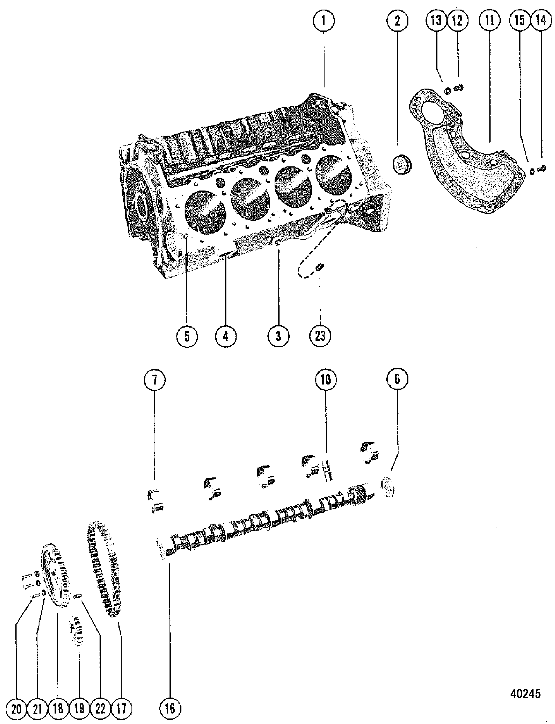 hight resolution of mercury mercruiser 228 mie 4 bbl gm 305 v 8 1979 1980 5170009 thru 5907057 cylinder block and camshaft