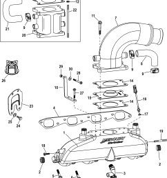 mercury mercruiser 8 2l mag h o model 1a351597 up exhaust manifold elbow and riser [ 1897 x 2197 Pixel ]