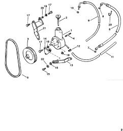 mercury mercruiser 3 0l gm 181 i l4 1 1998 0l010042 thru 0l096999 power steering pump assembly [ 1931 x 1892 Pixel ]