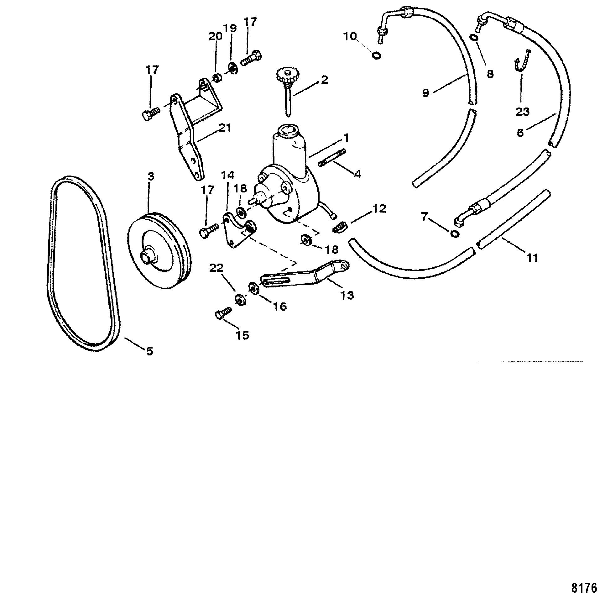 hight resolution of mercury mercruiser 3 0l gm 181 i l4 1 1998 0l010042 thru 0l096999 power steering pump assembly
