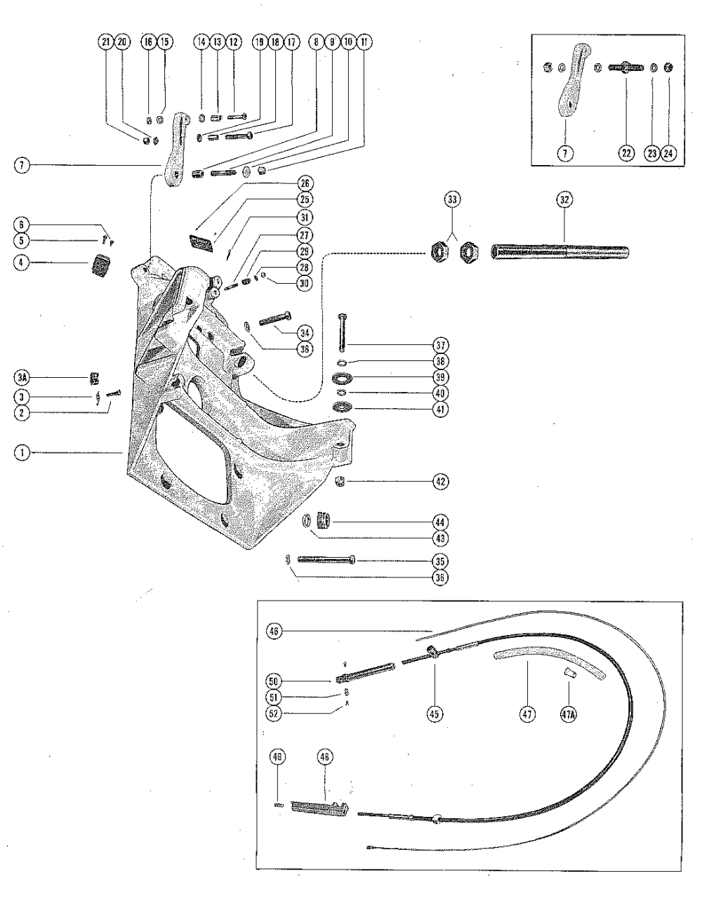 medium resolution of mercury mercruiser i 1963 1534570 thru 1684187 transom plate and shift cable