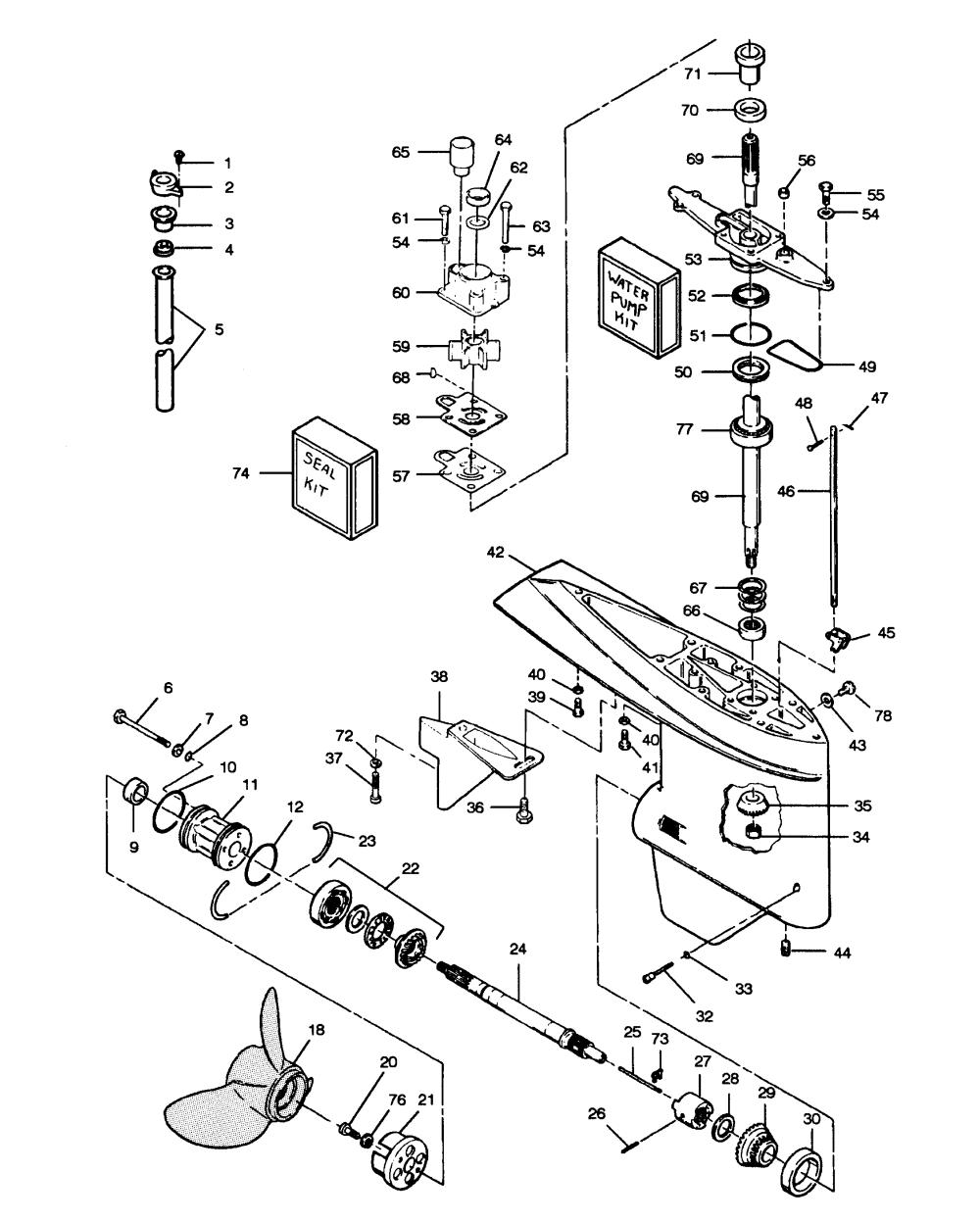 medium resolution of mercury force 85 h p 1989 856a9b gear housing