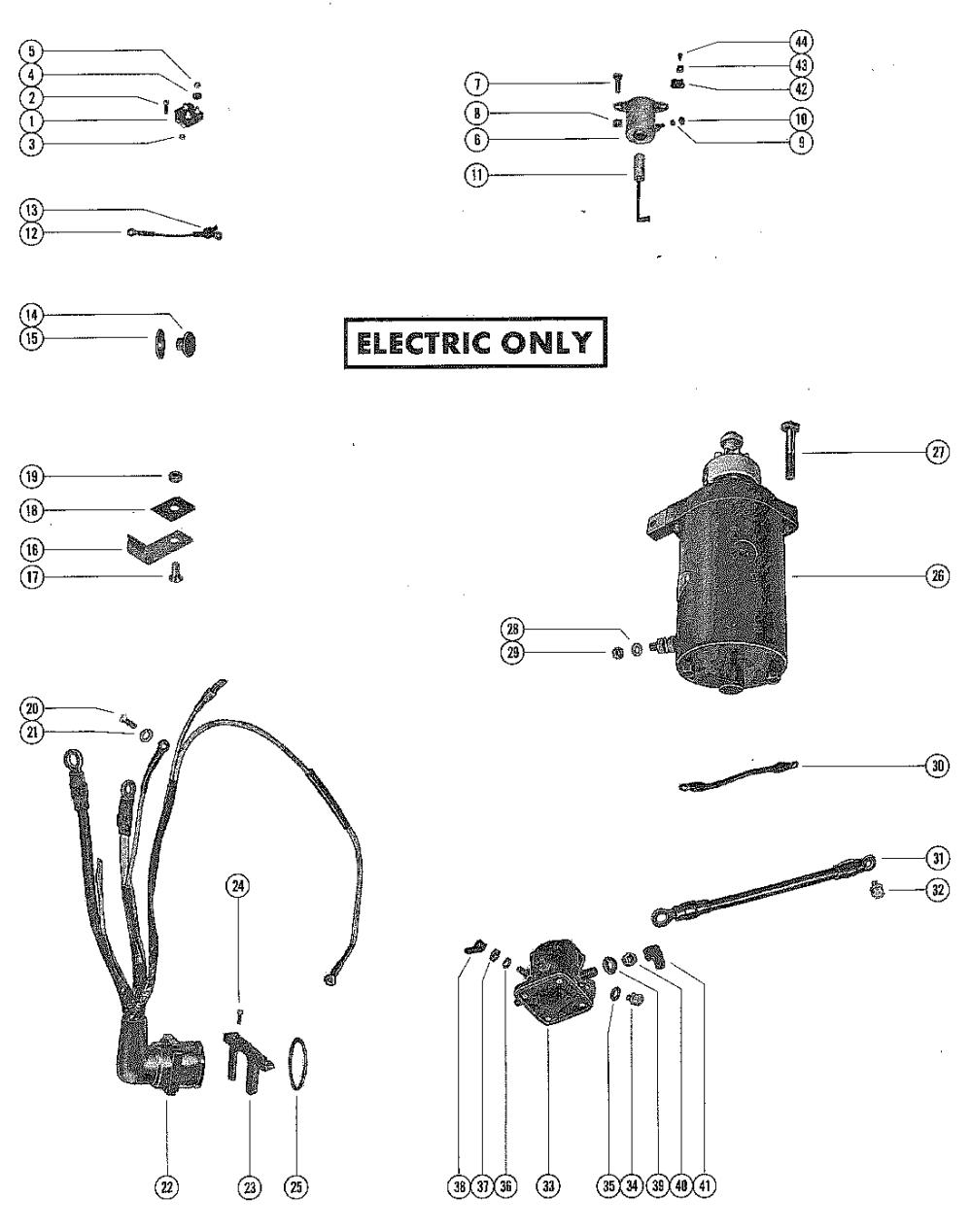 medium resolution of mercury mercury 402 3339688 thru 9076838 starter motor rectifier and wiring harness