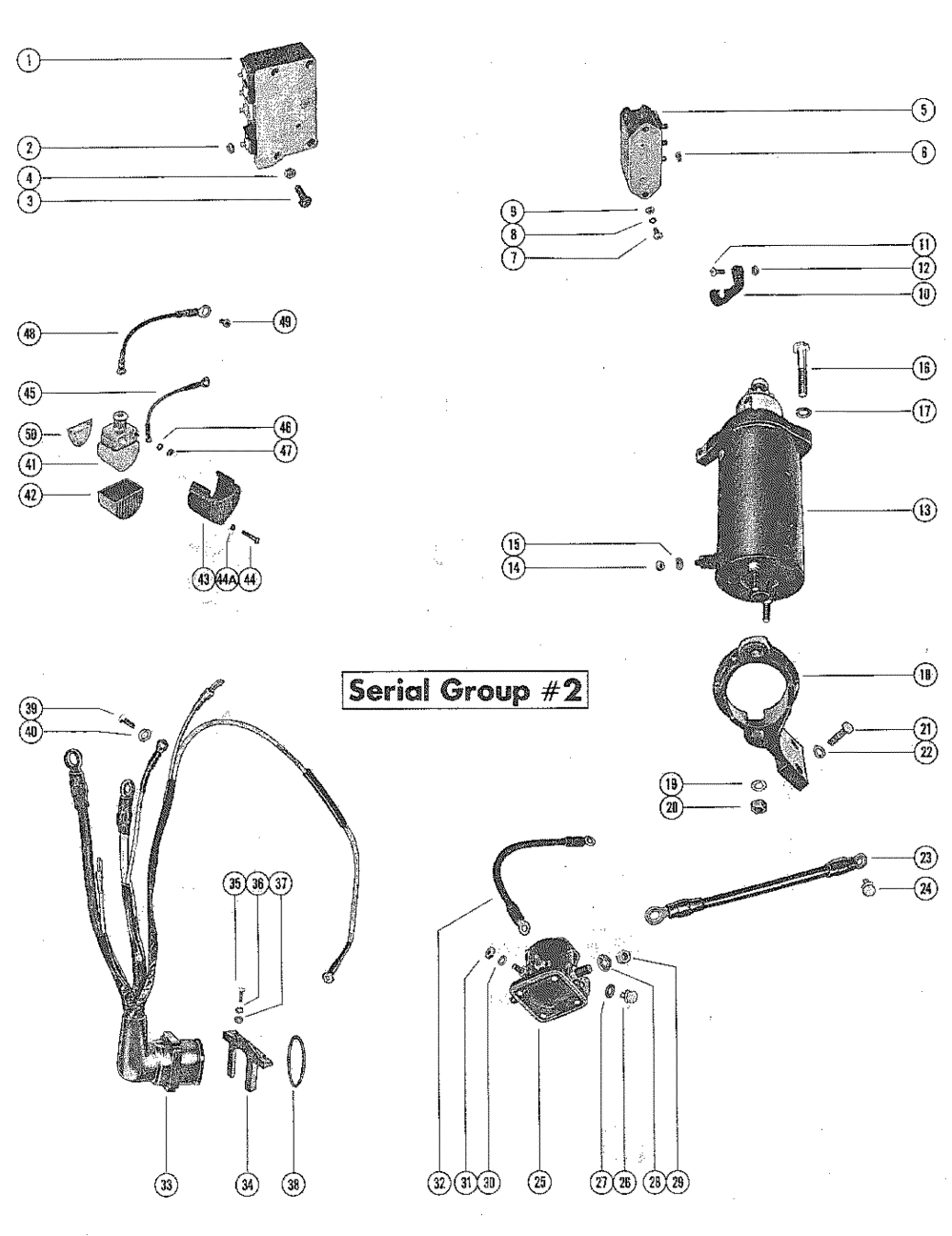medium resolution of mercury mercury 850 4 cyl 7010108 thru 7071372 starter motor and wiring harness serial group 2