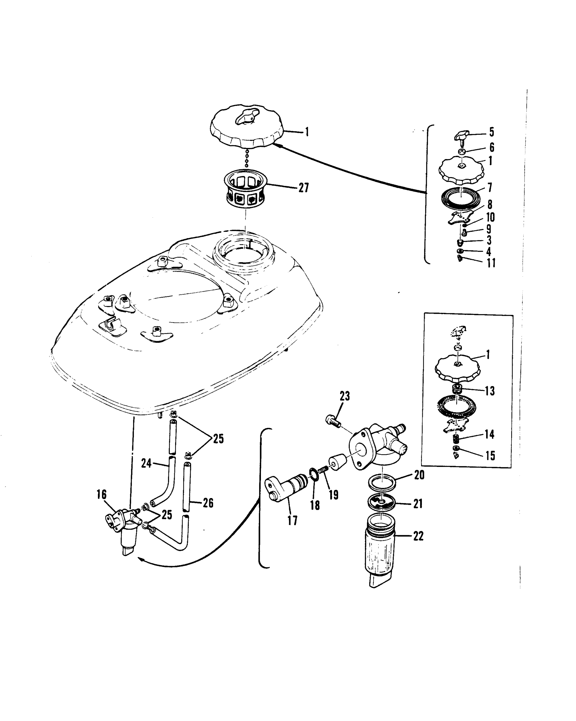 hight resolution of mercury mariner 3 5 642 23740 and below fuel tank cap and fuel filter
