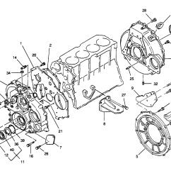 mercury u s marine hino diesel see mercruiser wo4cti 210 h p 4 cyl timing cover and flywheel housing [ 2291 x 1782 Pixel ]