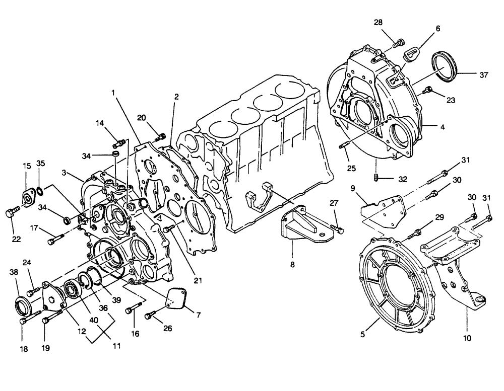 medium resolution of mercury u s marine hino diesel see mercruiser wo4cti 210 h p 4 cyl timing cover and flywheel housing