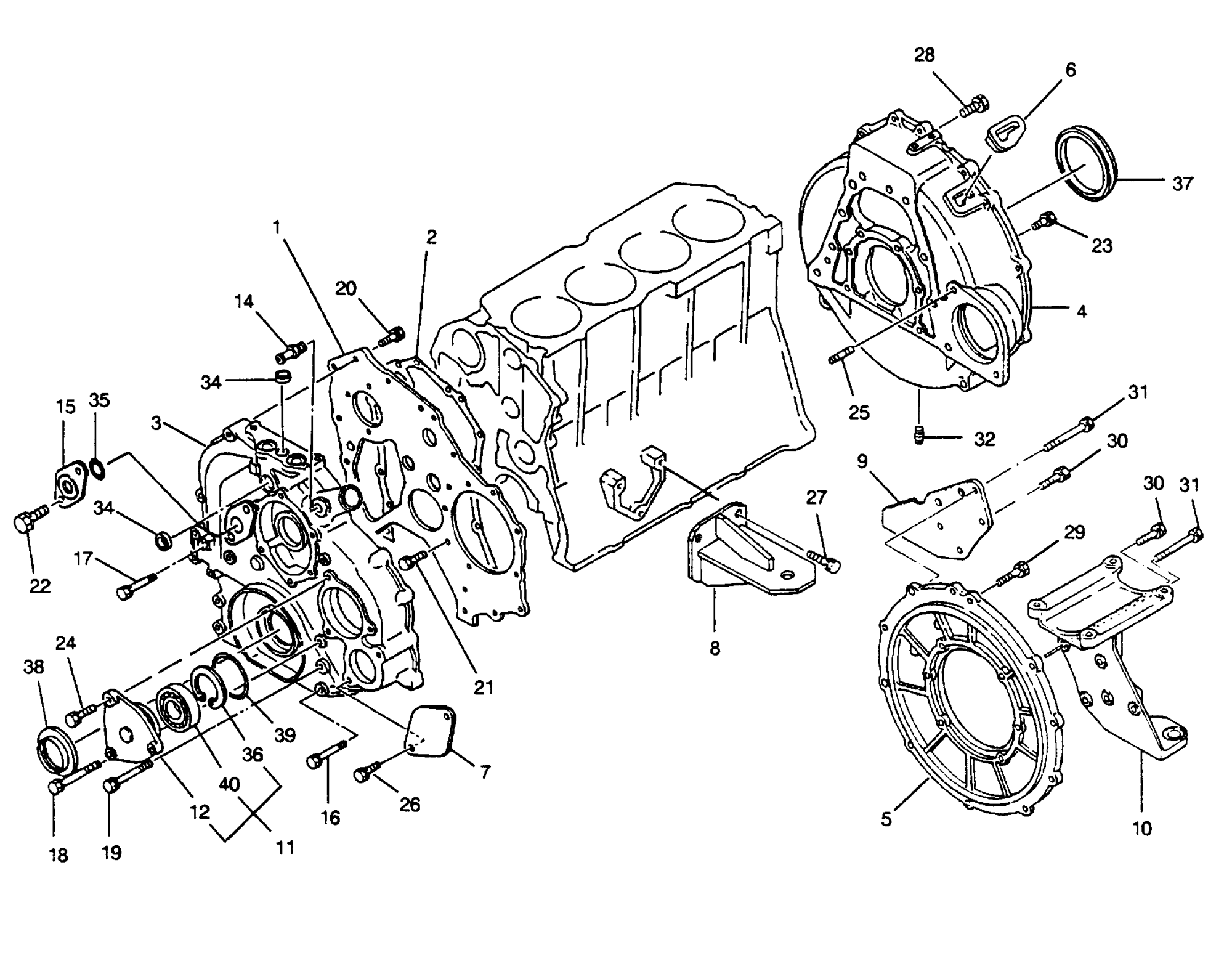 hight resolution of mercury u s marine hino diesel see mercruiser wo4cti 210 h p 4 cyl timing cover and flywheel housing
