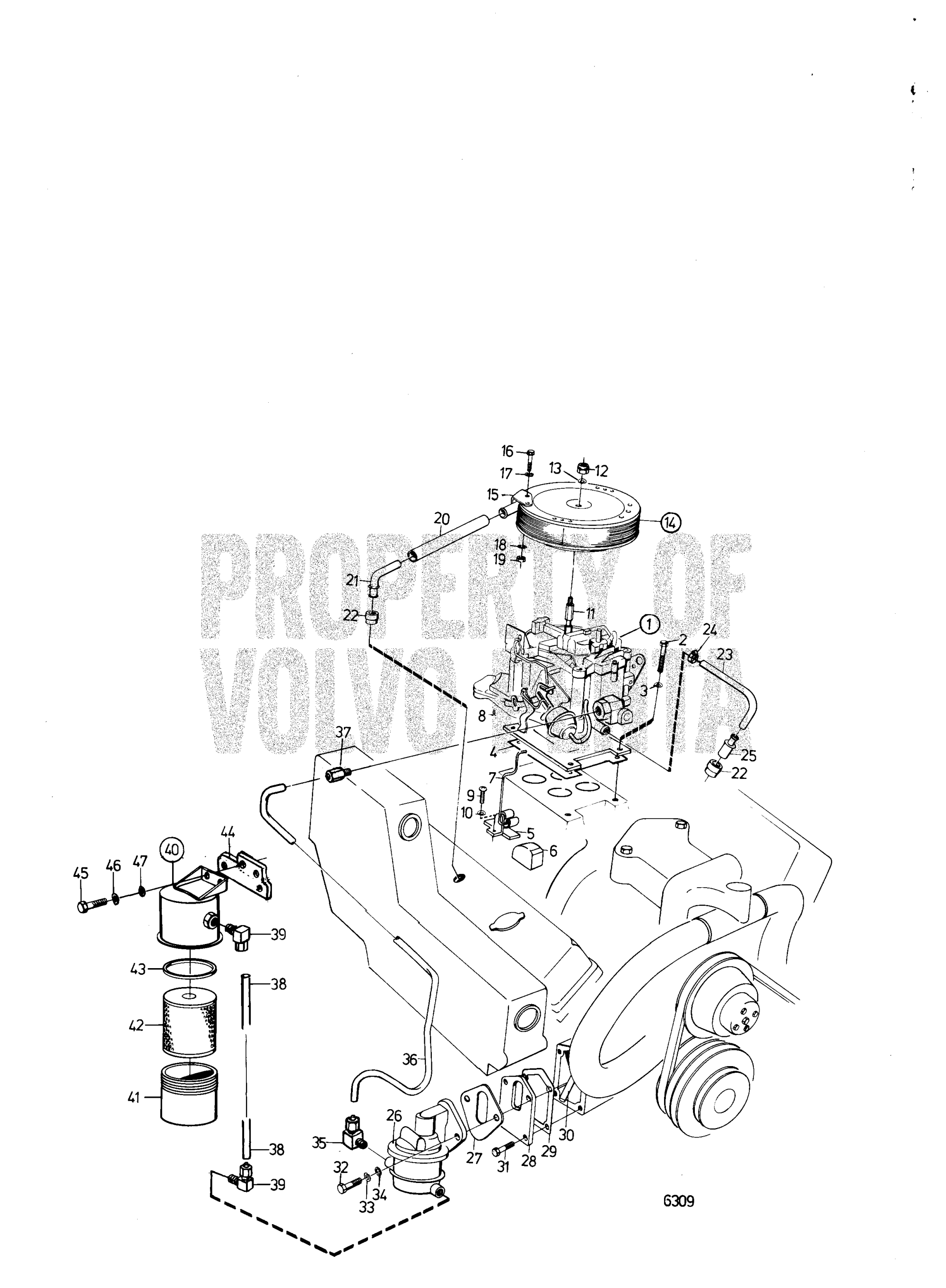 hight resolution of volvo marine gasoline engines aq200c aq200d aq225c aq225d aq255a aq255b fuel system b