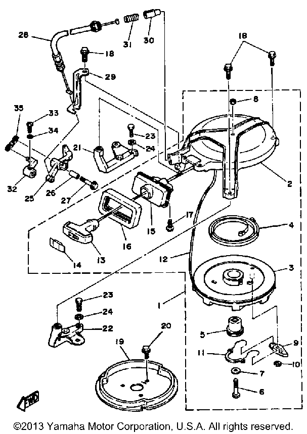 yamaha outboard motor parts diagram trailer light wiring 5 wire 8 hp 8lh manual starter