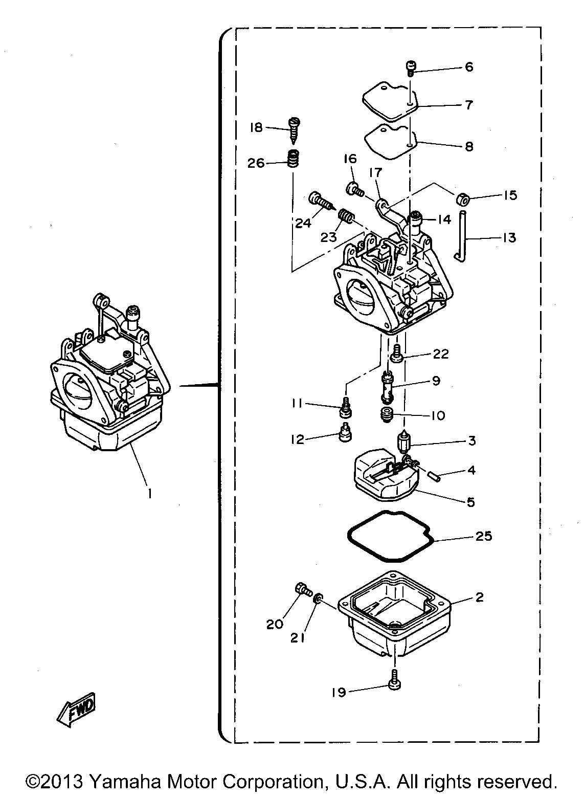 Yamaha Outboard 30 Hp C30elrt Carburetor