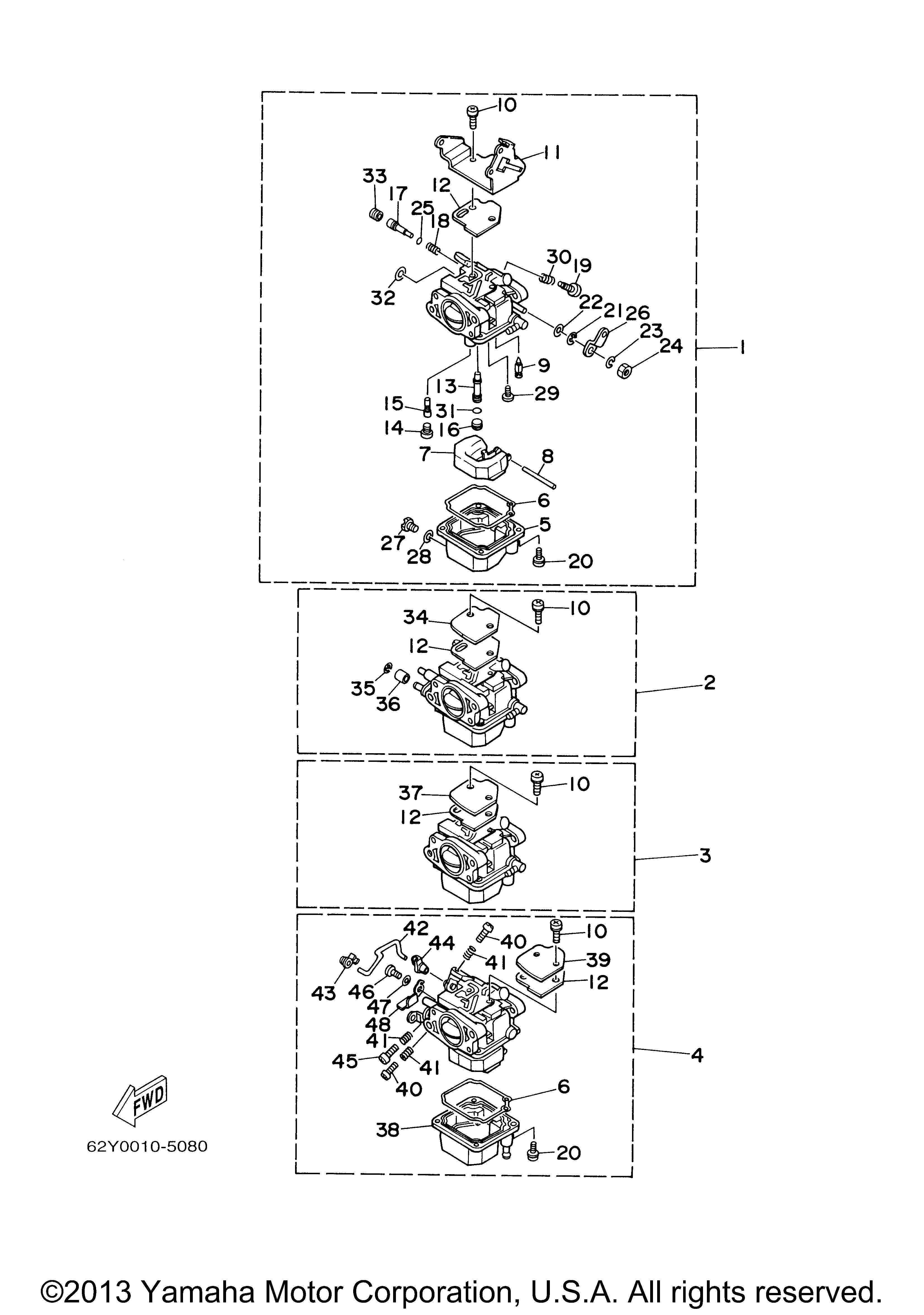 Yamaha Outboard 50 Hp F50tlry Carburetor