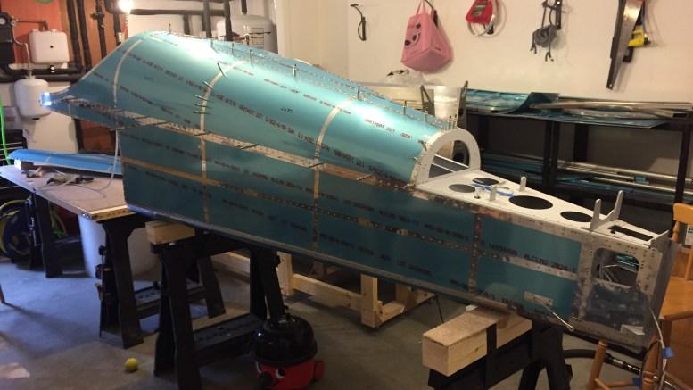Aft fuselage skins trial fit RV14